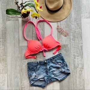 Victoria's Secret Bikini top Hot Pink Padded 34C